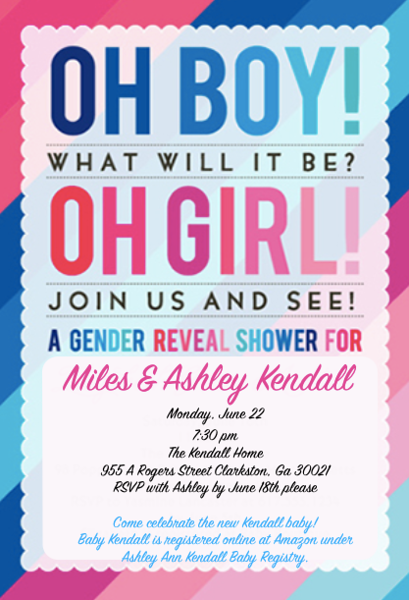 Baby Kendall Gender Reveal Inviation